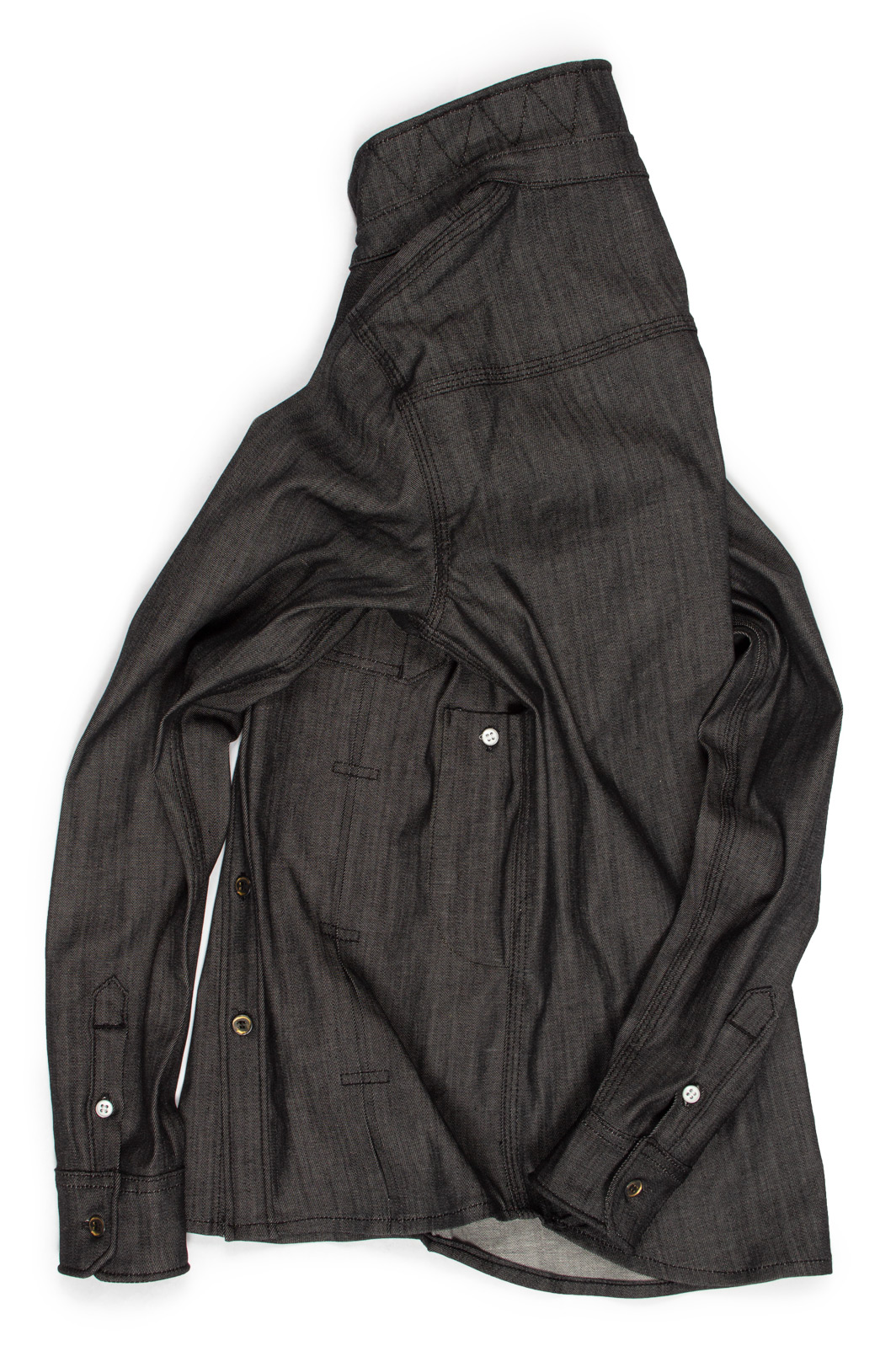 Rear view of the handman black raw denim shirt for men