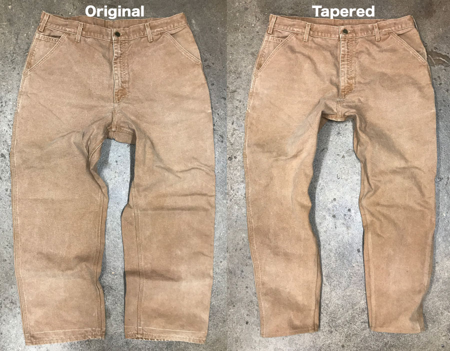 Carhartt carpenter work pants before & after tapering