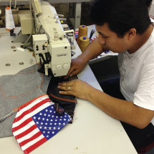 Sewing american made jeans in the factory