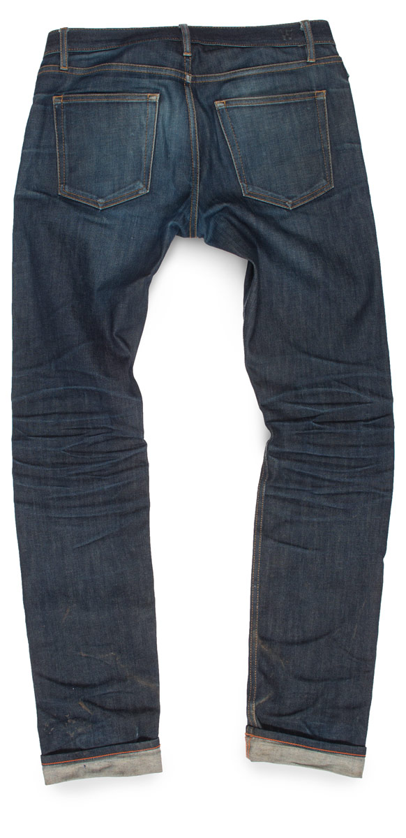 raw denim fades on dark never washed jeans back side