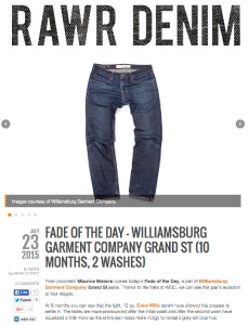 Heddels news article raw denim fade friday review of Williamsburg Garment Co.