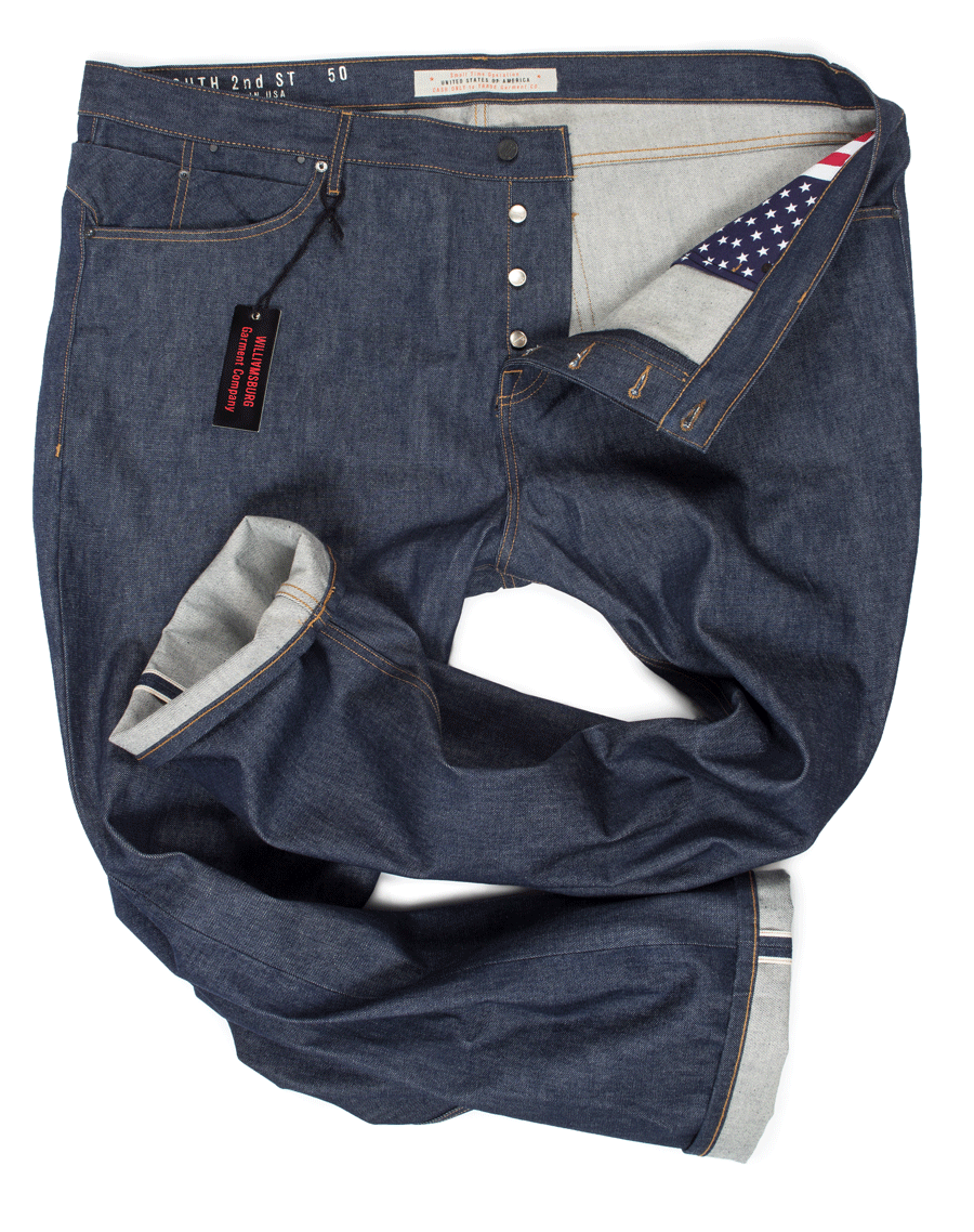 Williamsburg size-50, slim selvedge raw denim jeans for big men