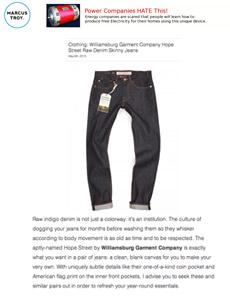 Marcustroy reviews Williamsburg raw denim American made jeans