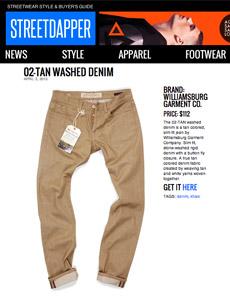 Streetdapper reviews Williamsburg tan raw denim jeans