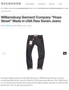 Williamsburg Hope Street raw denim jeans
