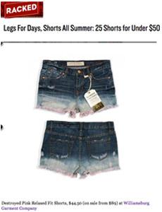 Racked news on Williamsburg denim shorts