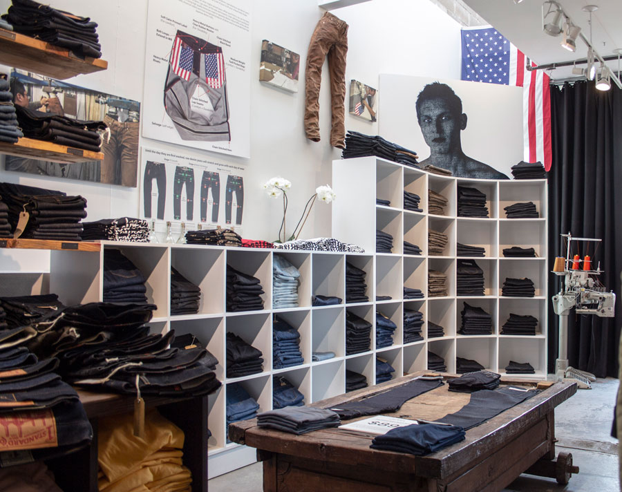 Williamsburg denim store display at 338 Wythe Ave, Brooklyn NY 11249