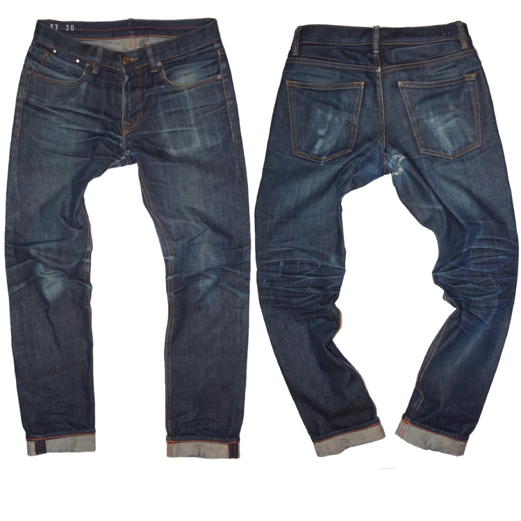 American made faded raw denim Grand St selvedge jeans